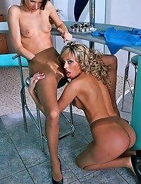 Vickie and Kate take off dress and taste pantyhose