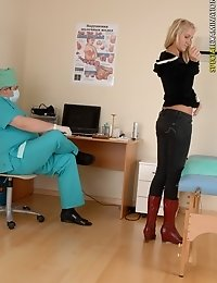 Nervous female patient of a lecherous male doctor