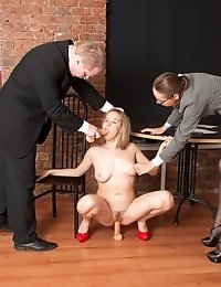 Boss wants to hire a fuckable big-titted secretary