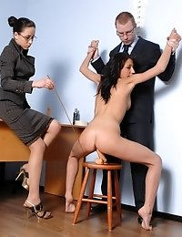 Totally undressed and toy DPed business girl