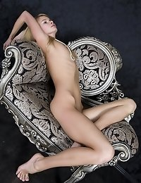 Blonde Teen Girl Wants To Pose Naked On The Arm-chair Right Away.