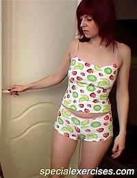 Lissome redhead compelled to get totally naked