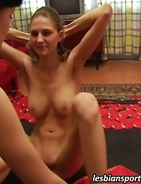 Slim girl takes pleasure in lesbian training
