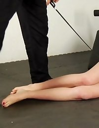 Redhead clumsy slave of a creative male trainer