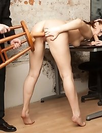 Redhead secretary stripped and DPed at interview