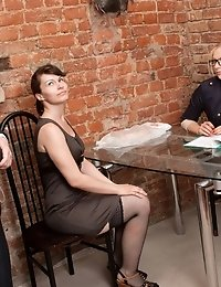 Undressed to stockings and interviewed with dildos