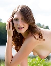 Sexy Brunette Spreads Her Legs In The Sunshine By The Pond, Feeling True Lustfulness And Passion Whi