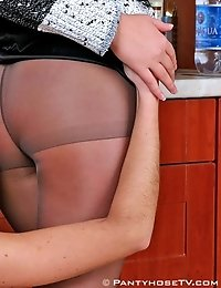 Hot leggy girls in pantyhose take off their clothes