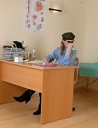Army doc examines a vagina with a speculum