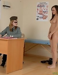 Military girl does nude workouts at a checkup