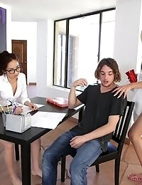 When Mila Jade Gets Tutored Nina Elle Seduces Them Both Into A Double Blowjob And Horny Threesome Fu
