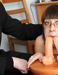 Blowing two dildos and getting toy fucked