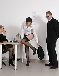 Panty-gagged and undressed job candidate