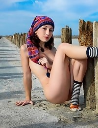 Gorgeous Brunette Strips Her Clothes In Dreamlike Scenery, Where She Splits Her Legs While Being Rea