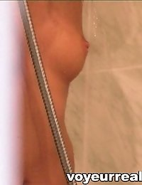 Shower hidden camera films a horny gal