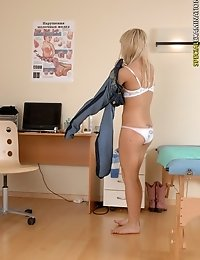 Blonde gets measured and examined at a physical