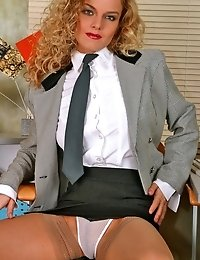 Really bad office girl spreading legs