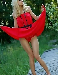 Naughty Teen Appears In Her Sexy Red Dress And Starts Removing It Passionately And Moving Slowly.