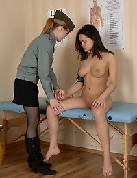 Girl measured and gyno inspected at an army checkup