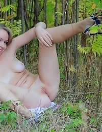 Blonde Chick Really Knows What Can Open A Sex Appetite. Refreshing Bird Song, Silky Grass As Well A