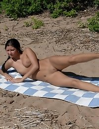 Inspiring set of nude outdoor yoga and fitness