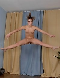 Totally erotic nude yoga asanas and jumps