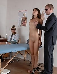 Wench caught and put to sporty medical tests