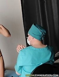 Breasts and throat exam done by a perverted doctor