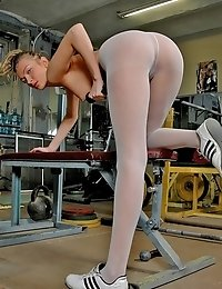 Hottie has gym fitness time in white pantyhose