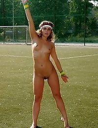 Cheerleader working out with no clothes on