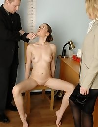 Dildo and gyno spreader used for a totally undressed interview