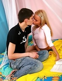 Hot blonde teen studys her boyfriends hard cock