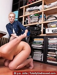 Secretary pussy rubbing and dildo orgasm at the interview