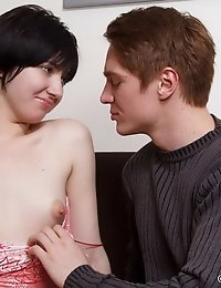 Horny brunette teen can't stop moaning from delight