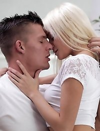 Spinner Blonde Olivia Devine Climbs On Her Mans Hard Cock And Rocks His World With A Juicy Bald Puss