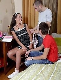 Virgin Slut Has Two Boys At The Same Time.