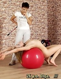 Willful blonde slave of a wicked sports mistress