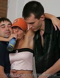 Drunken pussy needs cock and gets three at once