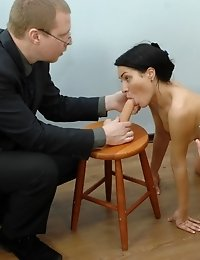 Testing the double penetration and orgasm skills of a candidate