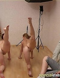 Two submissive gymnasts showing off naked