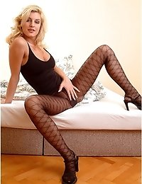 Sexy blonde in patterned pantyhose