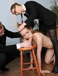 Submissive candidate shows her DP sex talents