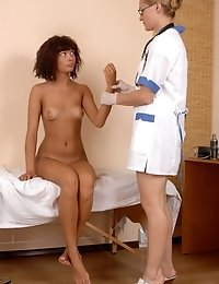 Clinic pussy orgasm evoking and catching