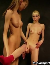 Naked lesbian sexercising of two sexy gymnasts