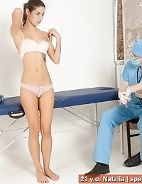 First ever nude gagged pussy examination