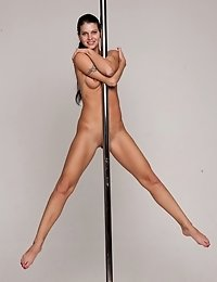 Passionate posing on the sofa and on the pole