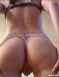Lissome chick working out in thongs only