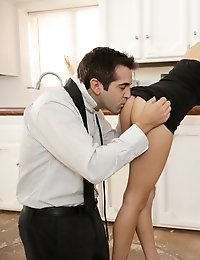 Super Skinny Teen Rebel Lynn Seduces Her Guy In The Kitchen With A Deep Throat Blowjob And A Standin
