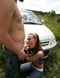Smart Virgin Sucking Big Dick In Front Of Car