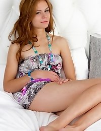 Gorgeous Teen In Beads Around His Neck Taking Off Clothes And Spreading Legs On The Bed .